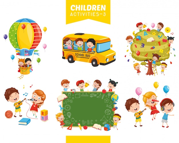 子供たちの活動のベクトル図の設定 Premiumベクター