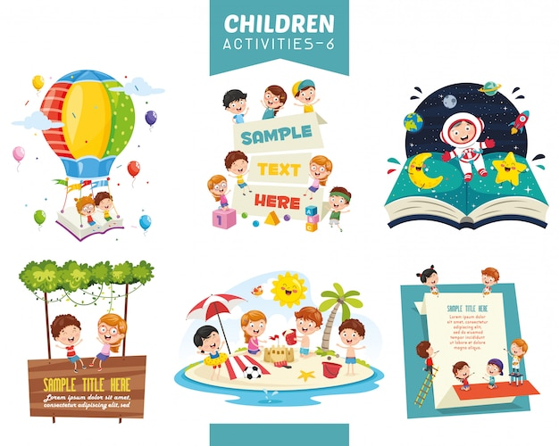 Векторные иллюстрации детей деятельности набор Premium векторы