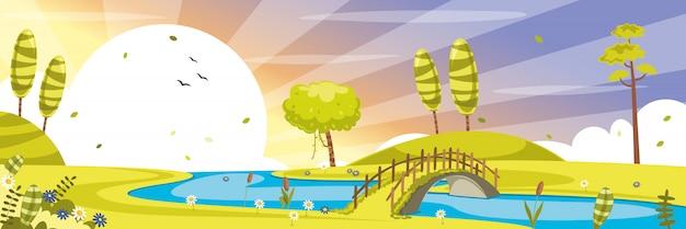 Иллюстрация зеленой природы Premium векторы