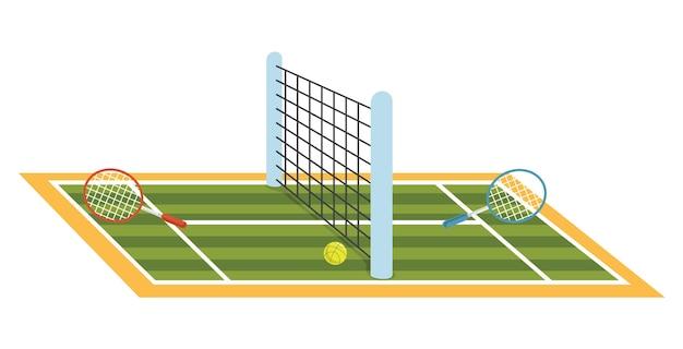 テニスコートのイラスト ベクター画像 プレミアムダウンロード