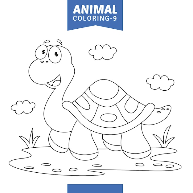 動物の色付けページのベクトル図 Premiumベクター