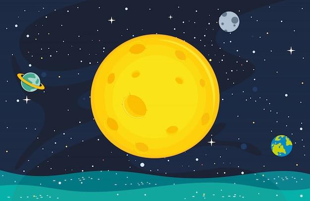 月の背景のイラスト Premiumベクター