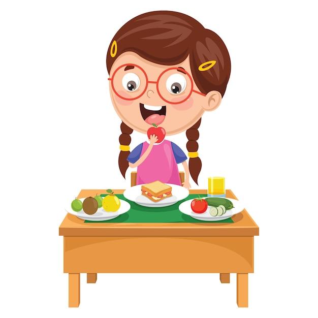 朝食を持つ子供のイラスト Premiumベクター