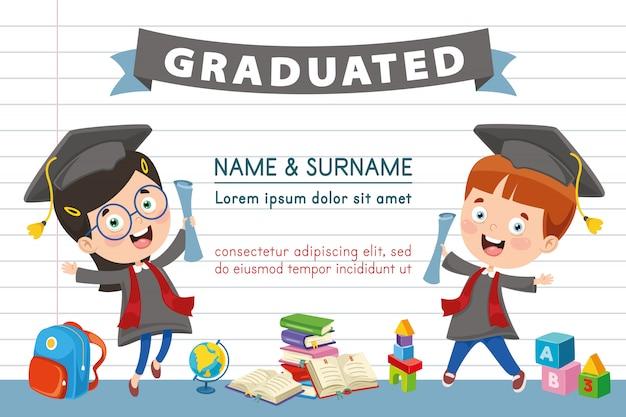 Векторная иллюстрация детей диплом Premium векторы
