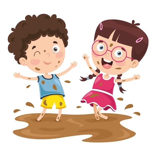 泥の中で遊んでいる子供のベクトル図 Premiumベクター