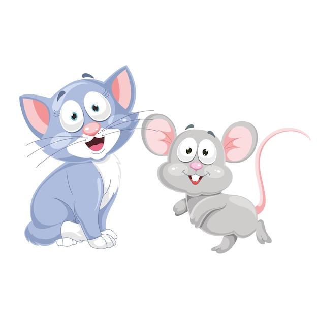 漫画の猫とマウスのベクトルイラスト Premiumベクター