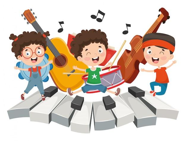 Иллюстрация детской музыки Premium векторы