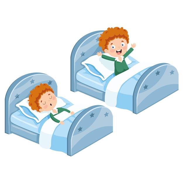 Иллюстрация малыш спит и просыпается Premium векторы