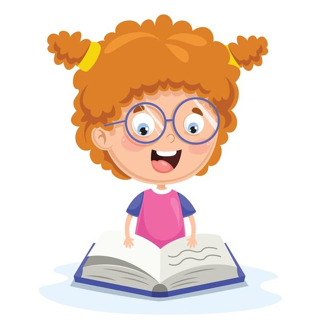 子供の読書のベクトル図 Premiumベクター