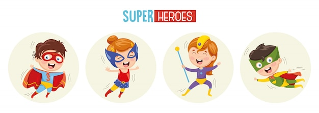 Иллюстрация супергероев Premium векторы