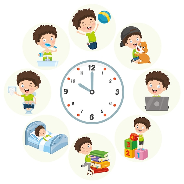 子供の日常の活動のベクトルイラスト Premiumベクター
