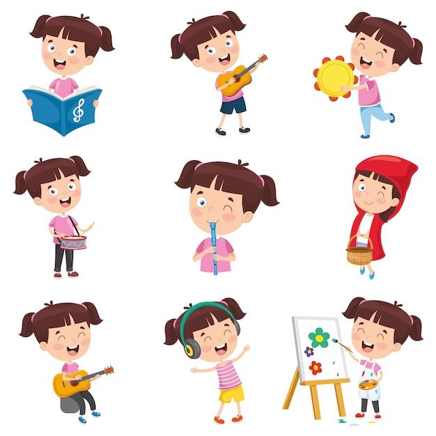 Векторная иллюстрация мультяшныйа девушка делает различные мероприятия Premium векторы