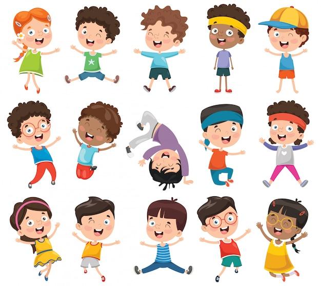 漫画の子供たちのベクトルイラスト Premiumベクター