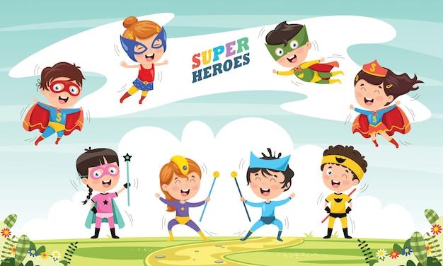 Векторная иллюстрация супергероев Premium векторы