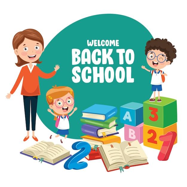 学校に戻る子供たちのベクトルイラスト Premiumベクター