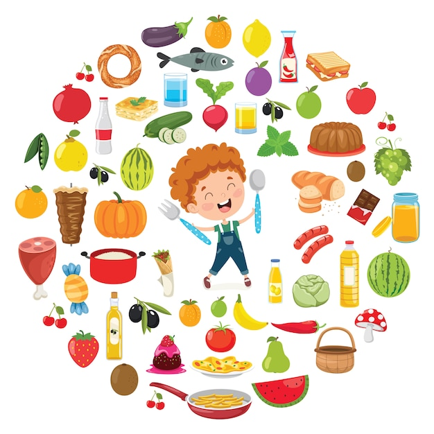 子供たちの食べ物のコンセプトのベクトルイラスト Premiumベクター