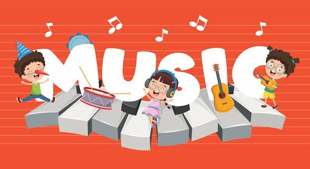 Векторная иллюстрация детей музыкального фона Premium векторы