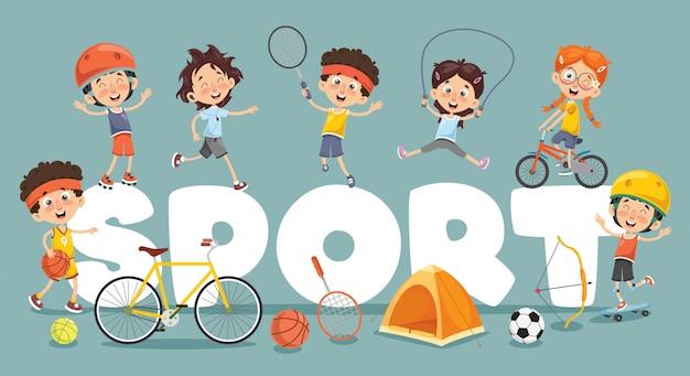 子供のスポーツのベクトルイラスト Premiumベクター