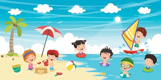 夏の子供たち Premiumベクター