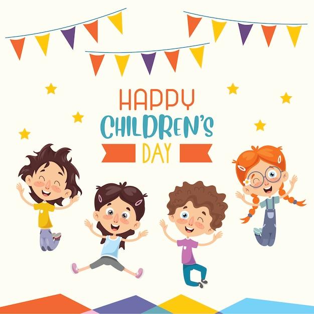 Счастливого дня детей Premium векторы