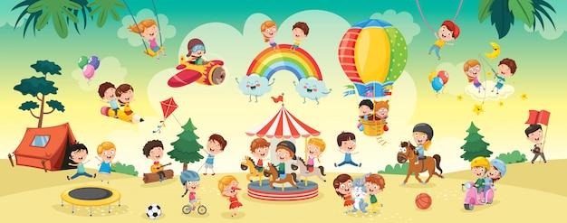 Счастливые дети играют пейзаж иллюстрации Premium векторы