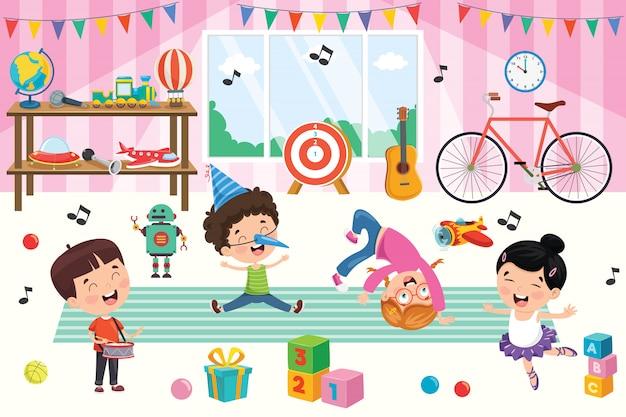 おもちゃで遊んでいる幸せな子供 Premiumベクター