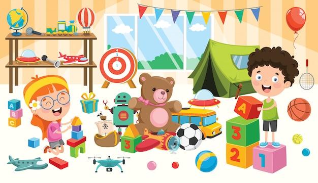 Счастливые дети играют с игрушками Premium векторы