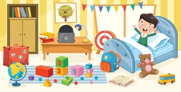 Дети веселятся в комнате Premium векторы