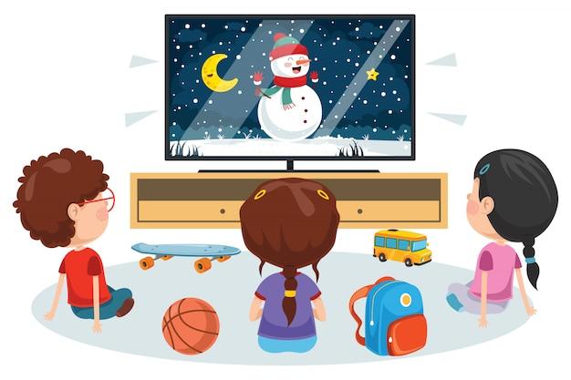 部屋でテレビを見ている子供たち Premiumベクター