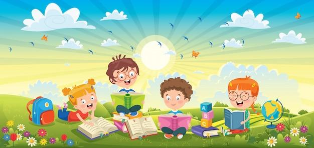 春の風景で本を読む子どもたち Premiumベクター