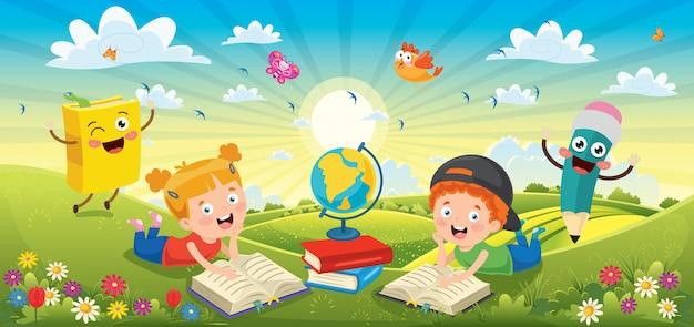 Дети читают книги в весенний пейзаж Premium векторы