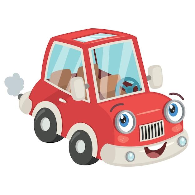 Забавный мультяшный красный автомобиль позирует Premium векторы