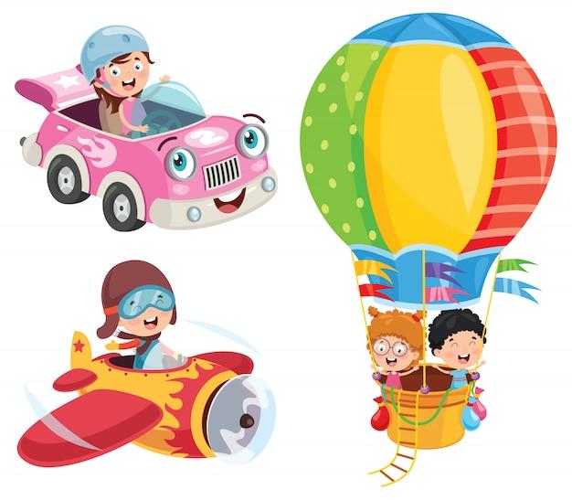 車と飛行機と熱気球を使用している子供 Premiumベクター