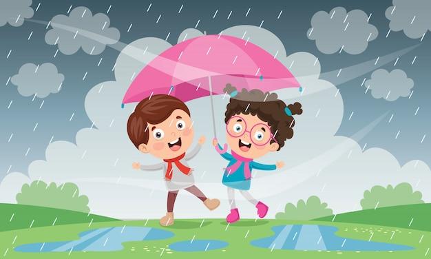 Дети с зонтом под дождем Premium векторы