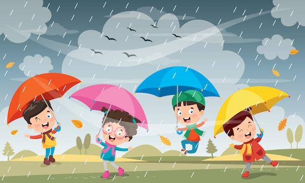 Дети играют под дождем Premium векторы