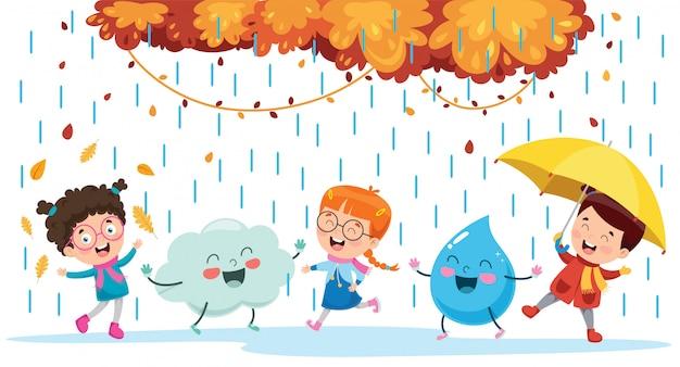 Дети играют с облаками и каплями дождя Premium векторы