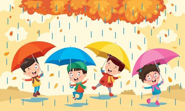 Маленькие дети с зонтиками Premium векторы