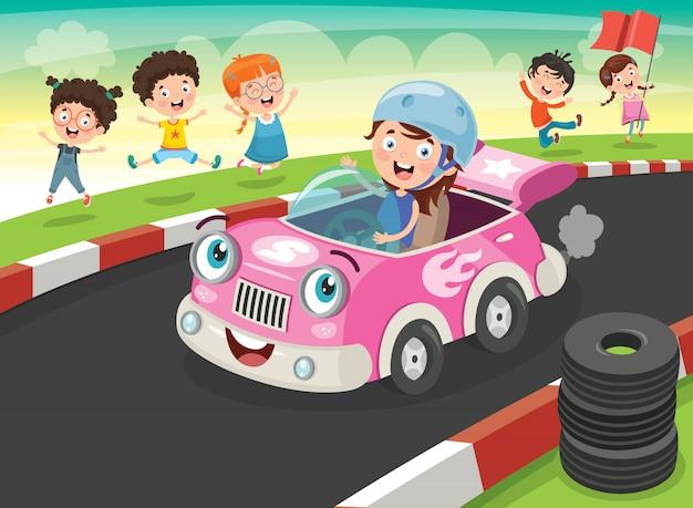 面白い車でレースする子供たち Premiumベクター