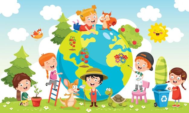 地球を楽しむ子どもたち Premiumベクター
