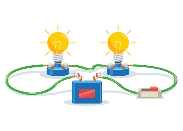 Эксперимент по простой электрической схеме для обучения детей Premium векторы
