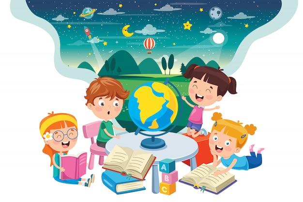 Маленькие студенты, изучающие географию Premium векторы
