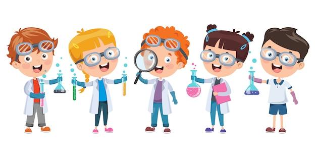 Маленькие студенты делают химический эксперимент Premium векторы