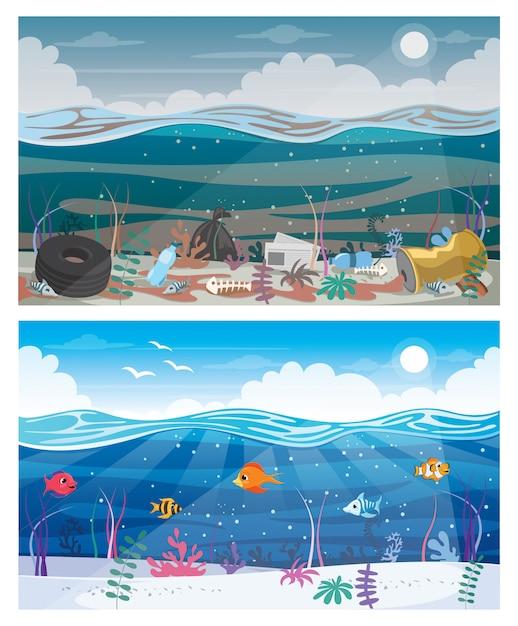Разница между чистым и грязным морем Premium векторы