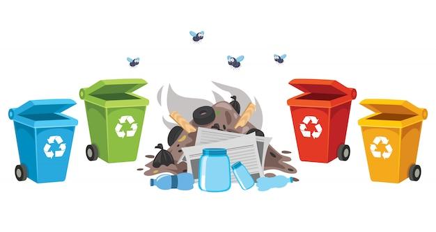 Мусорные и мусорные корзины для пластика, металла, бумаги и стекла Premium векторы