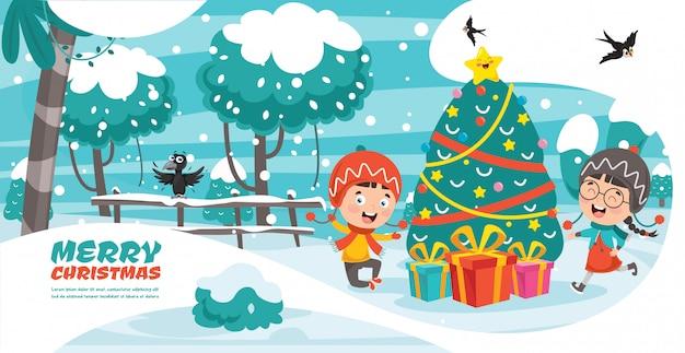 漫画のキャラクターのクリスマスグリーティングカードデザイン Premiumベクター