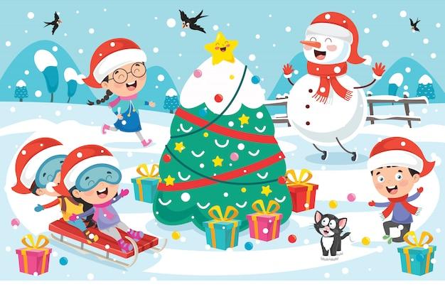 Рождественская открытка с героями мультфильмов Premium векторы