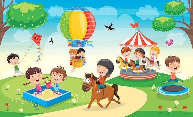 公園で遊んでいる子供たち Premiumベクター