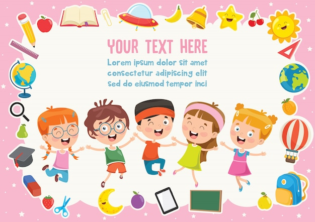 Красочный шаблон с милыми детьми Premium векторы