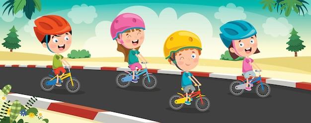 Счастливые маленькие дети едут на велосипеде по дороге Premium векторы