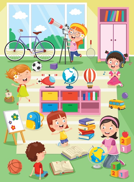幼稚園の教室で勉強して遊んでいる小さな子供たち Premiumベクター
